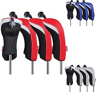 LONGCHAO 高尔夫俱乐部头套,3 件高尔夫配件混合头套套装,带可互换标签
