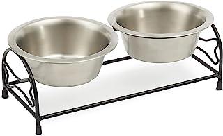 PetRageous 91702SS 骨头不锈钢防滑狗用餐器,黑色,3.5 杯容量,两个可用洗碗机清洗不锈钢碗,4.50 英寸高喂食器,适用于中型和大型犬和猫,金属