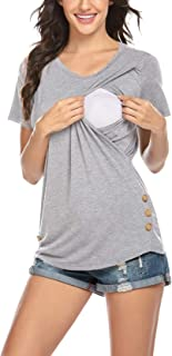Ekouaer 孕妇上衣女式哺乳衬衫双层短袖孕妇衬衫,适合哺乳 S-XXL 码