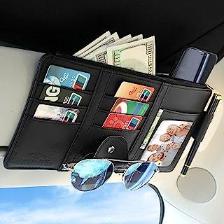 SUDTREEV 汽车遮阳板收纳包 黑色 多功能卡车 汽车收纳包 钱包收纳袋 车辆内饰配件 收纳袋 适用于注册 ID 卡 保险文件 太阳镜