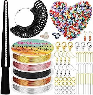 戒指耳环首饰制作套件包括戒指尺寸测量工具、戒指芯、戒指尺寸测量、手指尺寸测量、珠宝线、耳环钩和 300 颗水晶宝石珠,用于珠宝制作