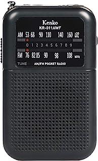 Kenko 收音机 AM/FM 口袋收音机 KR-011AWF 支持宽频FM使用7号干电池,附带耳机 黑色
