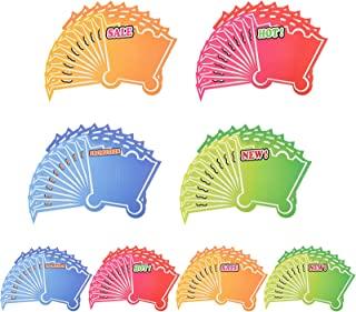 零售店 80 张销售纸标牌,空白零售销售标签标志卡,商店货架上显示零售价,渐变色购物车形状