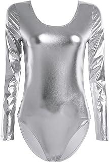 Lejafay 女式女孩人造皮革高衩丁字裤体操紧身连衣裤舞蹈服