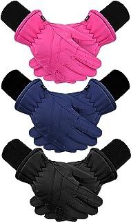 3 对儿童冬季保暖手套防水滑雪手套保暖雪手套