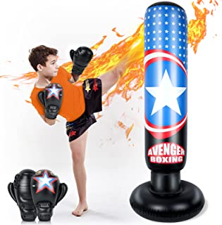 Lynkktoy 儿童充气拳击包, 63 英寸健身拳击袋支架,适用于 MMA 练习空手、跆拳道、玩具年龄 3 岁以上儿童的礼物