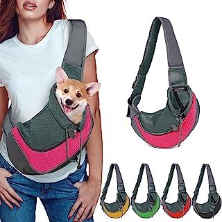 manzia 可穿戴背包小狗背带,适合小型犬,钱包,抽绳和拉链及特殊*钩,三重设计适合宠物*(L-粉色)