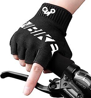 INBIKE MTB 手套,山地自行车 DH 公路骑行半指骑行手套,男士女士,黑色