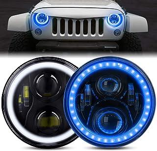 DOT 批准的 7 英寸 LED 光环前灯适用于 Jeep Wrangler JK TJ LJ 1997-2018,CREE LED 芯片,带 DRL 琥珀转向信号灯和光环环天使*(7 英寸大灯带蓝色光晕(2 件装)