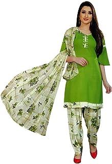ladyline 女式即穿Salwar Kameez 人造绉纱印花印度缝制纱丽西装 Lyril Green (34) Large