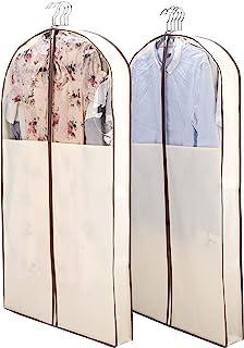 YiSeyruo 衣橱收纳袋:2 包 106.68 厘米西装袋,带 10.16 厘米三角布透明服装保护袋套,适用于西装外套毛衣  一套 2 个悬挂服装袋