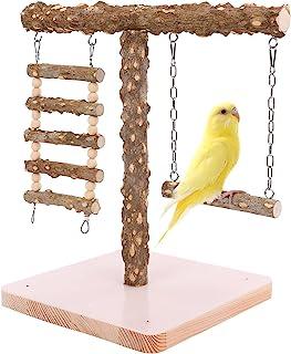鸟桌面训练鲈鱼游戏支架,便携式鹦鹉摆动玩具木鸟笼玩具,鸟栖息地站立杆锻炼健身房游乐场,适用于长尾小鹦鹉、鸡尾酒、锥体爱情鸟 (T-B)