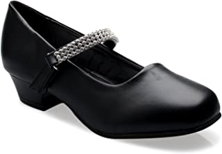 OLIVIA K 女童小猫高跟鞋 Mary Jane 鞋 - 圆头带水钻外壳