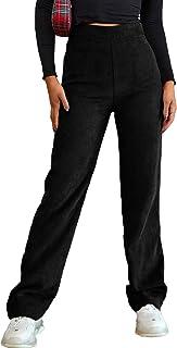 WDIRARA 女式灯芯绒高腰拉链侧弹力休闲长裤