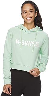 K-Swiss 女士套头露脐连帽衫 - 连帽运动服锻炼运动衫
