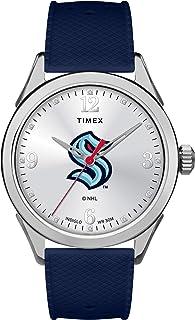 Timex Tribute 女式 Tribute 系列石英硅胶表带,蓝色,20 块休闲手表(型号:TWZHSKRWGYZ)