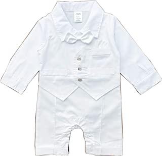 Zevany 白色男婴祝福套装,长袖
