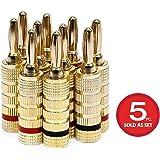 Monoprice 109436 铜质扬声器封闭螺旋式香蕉插头(5 对)