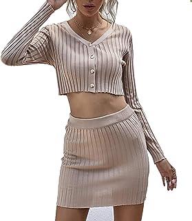 女式针织 2 件套毛衣裙和上衣套装