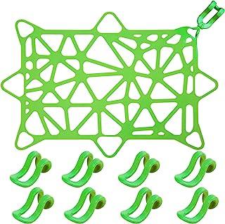 硅胶洗碗机网可伸缩洗碗机网 洗碗机网 洗碗机篮网 9.8 x 14.5 英寸(约 24.9 x 37.9 厘米)带 8 个可调节挂钩,用于洗碗机,防止塑料杯碗碗碟盆 瓶子被倾倒(*)