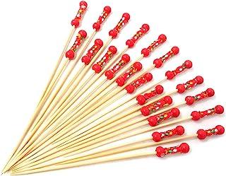 Honbay 100 件 11.94 cm 手工鸡尾*拨片远足者竹牙签三明治水果牙签 红珠 COCKTAIL-PICKS-RED-BEAD-100
