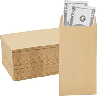 Juvale 100 个装硬币信封 - 小牛皮纸钱袋货币换货、商业用途、个人礼品配搭,棕色 - 8.89 x 16.51 厘米