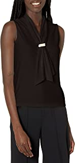 Karl Lagerfeld Women's Sleeveless Tied Blouse with Pearl Detail