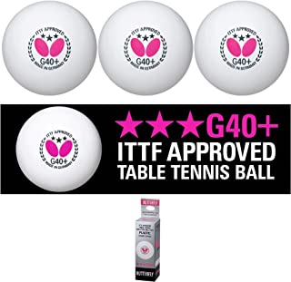 Butterfly G40+ 乒乓球 - 40 毫米白色乒乓球 - ITTF 认证专业乒乓球 - 涤纶乒乓球 - 3 包或 12 包