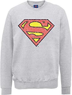 DC Comics 男式 DC0000686 官方超人盾形裂纹圆领长袖运动衫