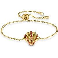 Swarovski 施华洛世奇贝壳手链,镀金女士手链,贝壳主题和闪闪发光的施华洛世奇水晶