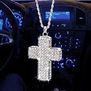 PAGOW 闪亮汽车配件女士双面闪亮十字架汽车装饰水晶钻石金属十字汽车后视镜吊坠,可爱的车辆内饰装饰汽车配件女式