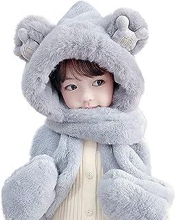 儿童帽围巾手套 3 合 1 毛绒厚连帽围巾带手套可爱滑雪帽青少年毛绒冬季耳罩帽男孩女孩颈部保暖盖防风巴拉克拉法帽