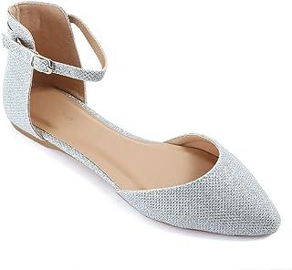 Guilty Heart 女士一脚蹬舒适尖头鞋——踝带Dorsay 芭蕾平底鞋