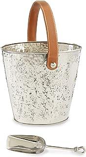 Mud Pie 48600050 锤锻金属饮料桶带手柄和勺子酒冷藏器套装均码银色