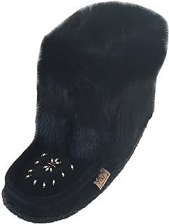 Laurentian Chief Tsar 短款黑色兔毛串珠绒面革Mukluks