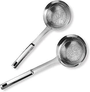 Skimmer 开槽勺套装,高级 304 不锈钢,大勺式滤勺,舒适抓握设计漏勺,适用于烹饪和煎炸