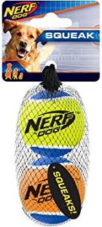 Nerf Dog 3 英寸 Squeak 网球 2 只装 - 蓝色/绿色和蓝色/橙色,狗狗玩具