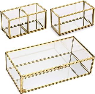 Hipiwe 镜像玻璃纪念品盒,带两个可拆卸内部玻璃收纳盒 - 金色盖盒首饰饰品收纳盒香水化妆口红支架