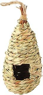 SunGrow 草鸟笼 - 舒适的鸟巢 - 为寒冷天气提供* - 远离捕食者的鸟 - 手工编织泪滴形 - * 天然纤维 - 非常适合用于雀巢和金黄色 Grass Bird Hut (1-Pack)
