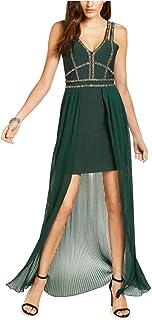 Marciano 串珠高低绷带礼服,祖母绿 XL