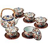 西海陶器 龟甲岩牡丹 带盖茶具套装(带茶托)30393