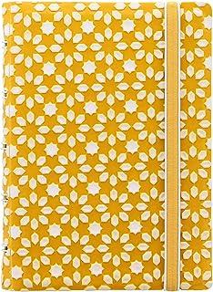 Filofax B115071U 可填充笔记本,口袋大小,112 页横格可移动页。 包括 4 个索引(一个带有口袋)、页标和弹性封口、黄色和白色