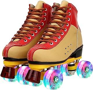 女式经典溜冰鞋 PU 皮高帮溜冰鞋 户外四轮滑冰鞋 男女皆宜 儿童和成人