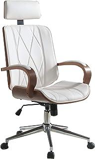 Benjara 仿皮办公椅可调节高度旋转,白色和棕色
