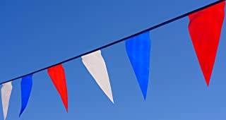 田径旗帜。 彩色红色、白色和蓝色三角裤。 长 100 英尺。 持久耐用。 超值。