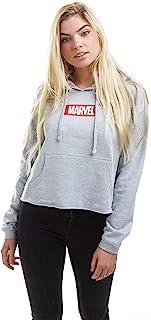 Marvel 漫威 女式 盒装标志 七分连帽运动衫