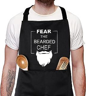 有趣的围裙,带 2 个口袋,适合父亲节,恐惧,胡子厨师烧烤围裙,可调节厨房厨师围裙黑色烹饪围裙,适合男士、爸爸、丈夫、男朋友朋友儿子
