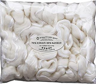旋转 LC 毛毡羊毛超软美利奴竹精梳粗纱适用于手部纺丝法, needle 毛毡,湿毛毡,肥皂 MAKING 和烘干机球 . 天然白色