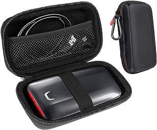 InGo 便携式 SSD 保护套兼容 SanDisk 1TB *便携 SSD 和 Samsung X5 便携 SSD - 1TB - Thunderbolt 3 外部 SSD,登山扣 + 网袋 + *弹性带