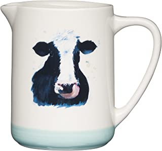 """Kitchen Craft 苹果农场手工成品陶瓷""""Cora Cow""""牛奶罐,500 毫升(17.5 液体盎司) - 奶油色/绿色"""